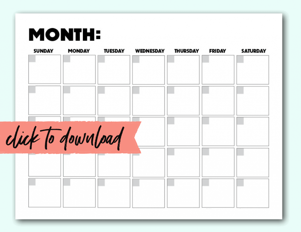 free printable blank calendar monthly