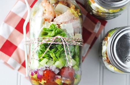 Shrimp Feta mason jar salad