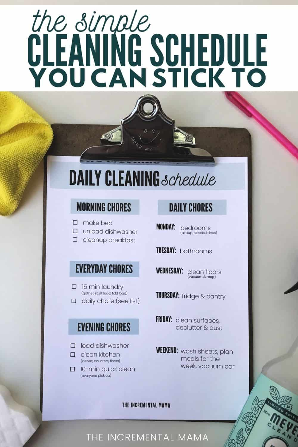 realistic house cleaning schedule