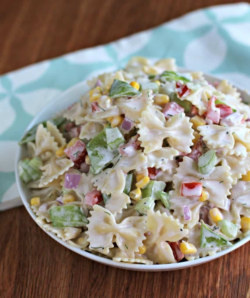 healthy and easy summer salad - summer garden pasta salad