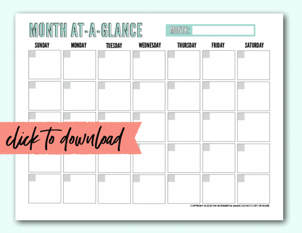 printable month at a glance monthly calendar