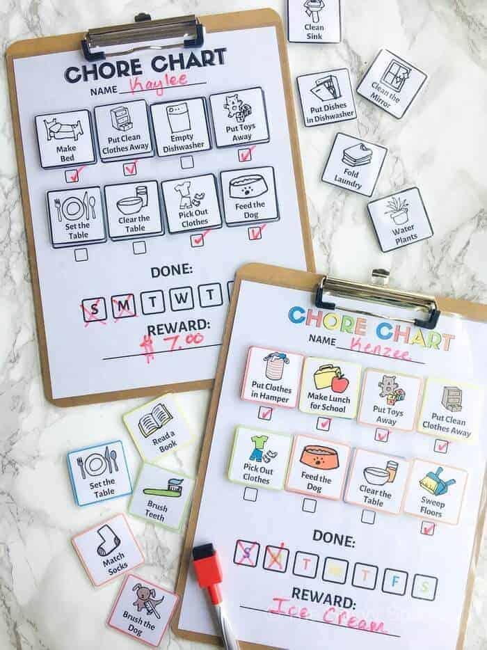 customizable daily chore chart