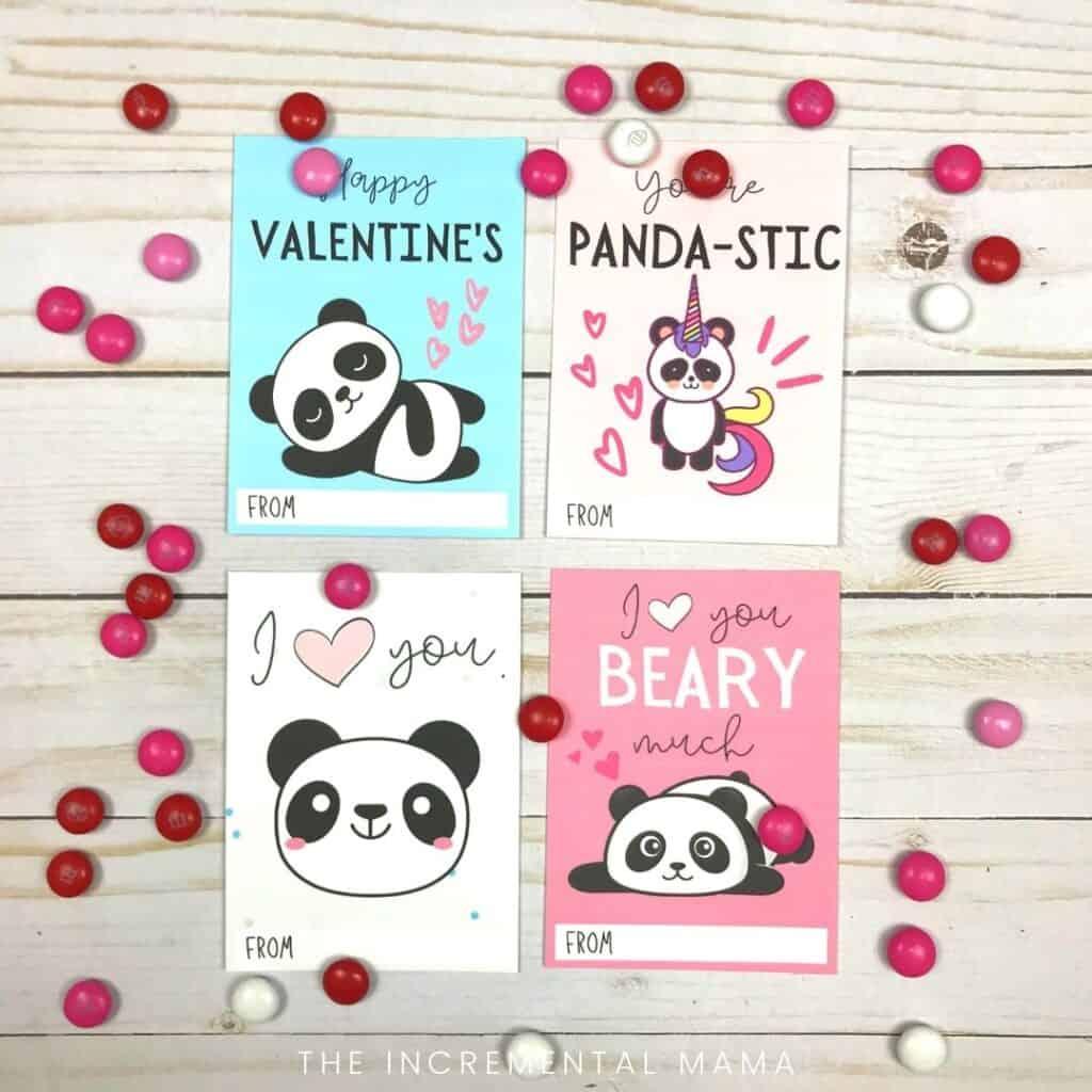 printable panda valentine