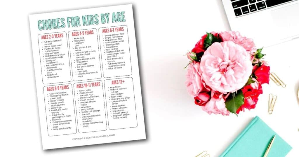 free printable age appropriate chore chart