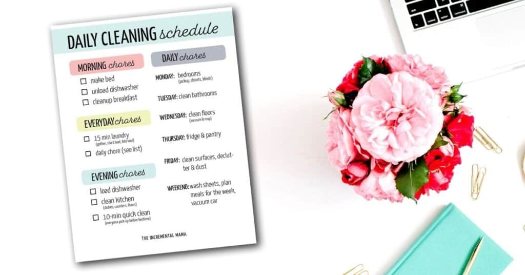 realistic cleaning schedule printable