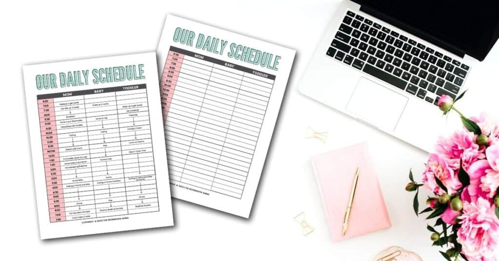 printable toddler and newborn schedule template