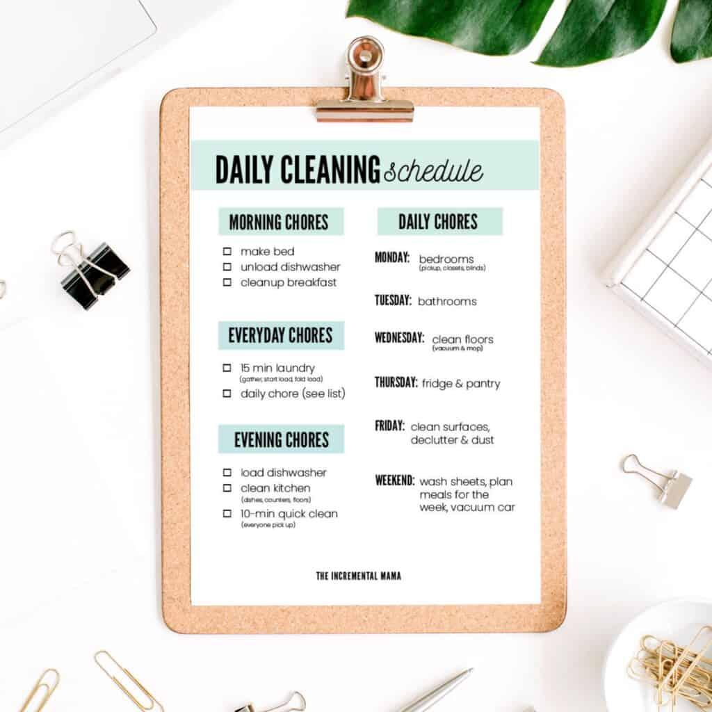 free printable weekly cleaning schedule