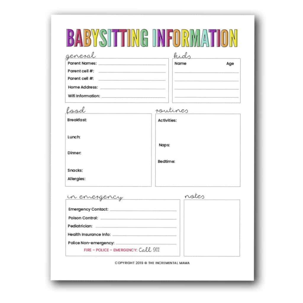 free printable babysitting information sheet