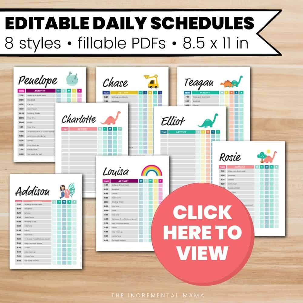 fillable schedule templates for kids