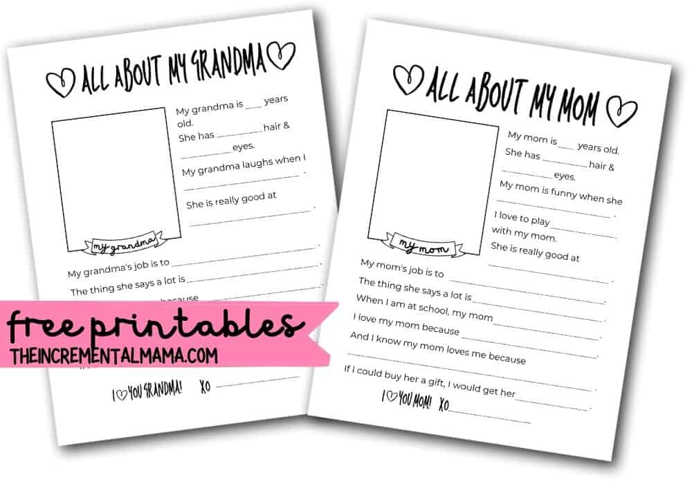 fill in the blank mother's day questionnaires