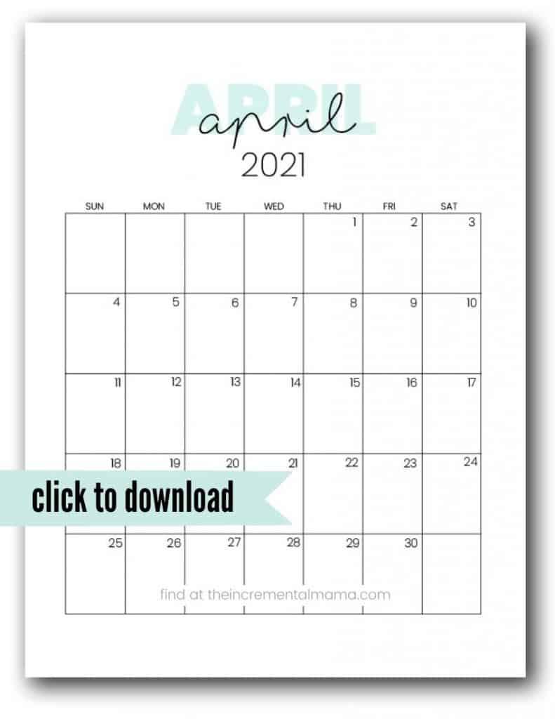 free april 2021 printable calendar