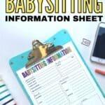 free babysitting printable