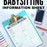 babysitting information printable