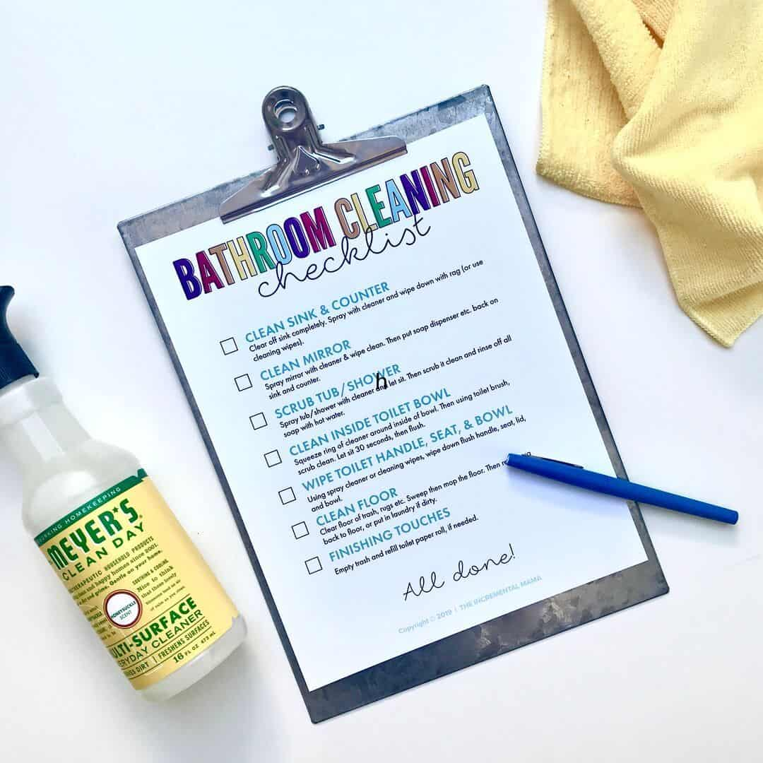 printable bathroom cleaning checklist for kids