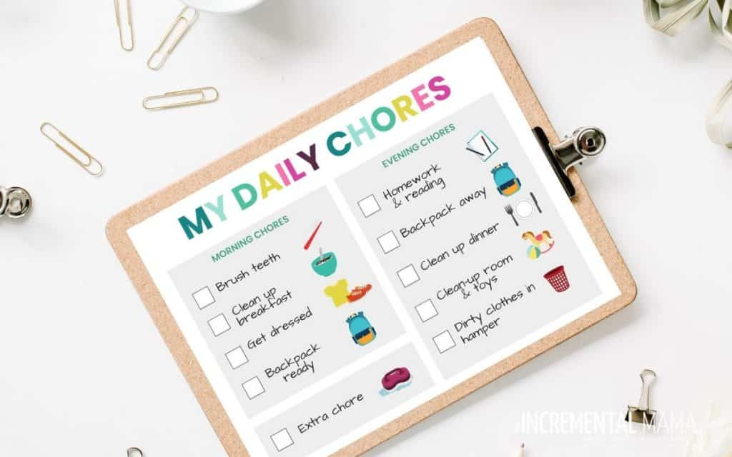 picture daily chore chart for kids