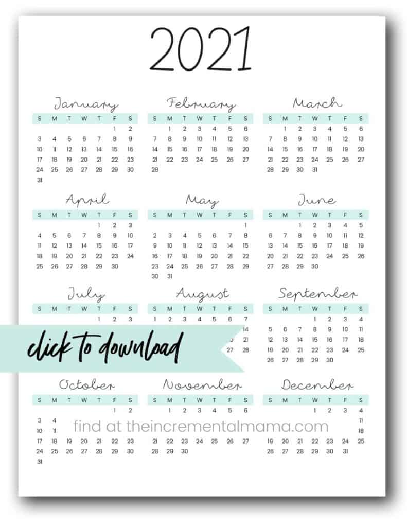 free pdf 2021 calendar