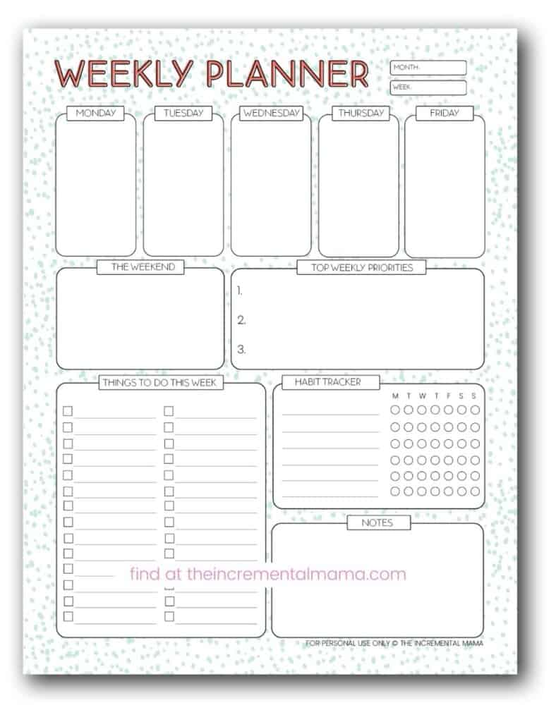 free printable weekly planning template