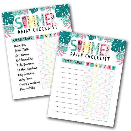 weekly summer chore chart printable