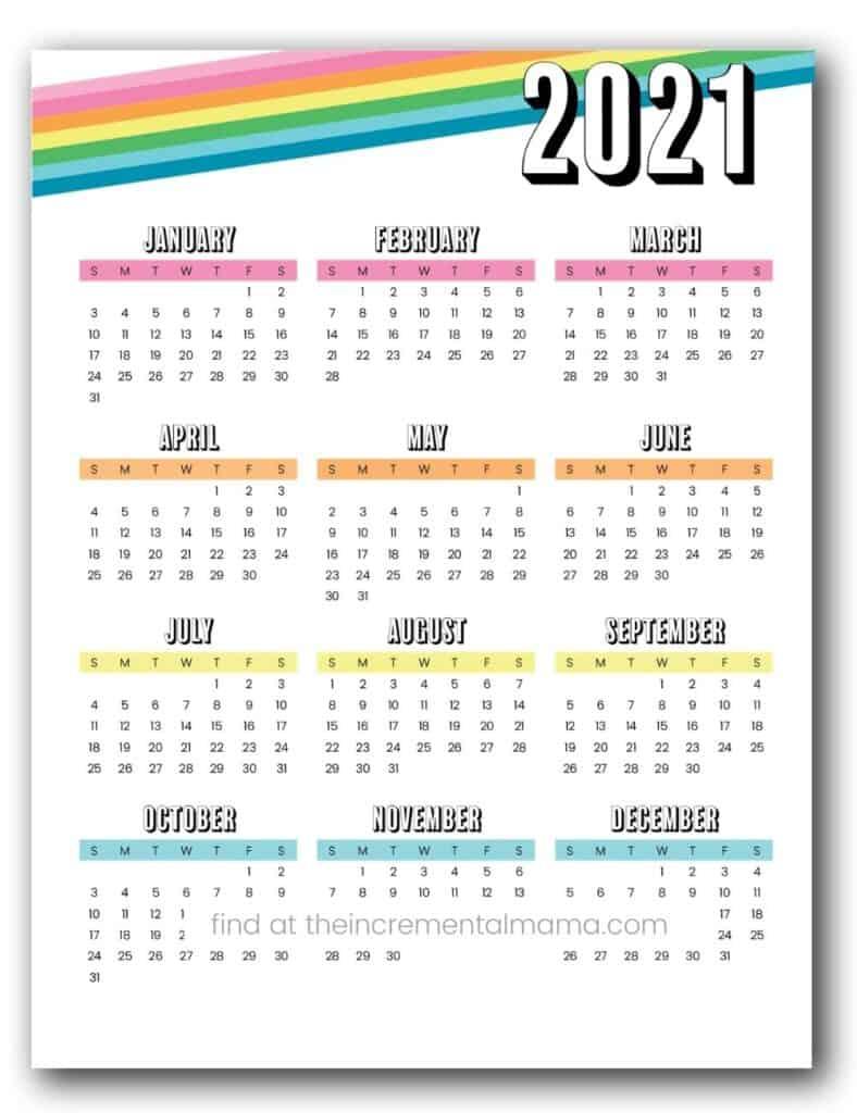 fun rainbow 2021 calendar pdf