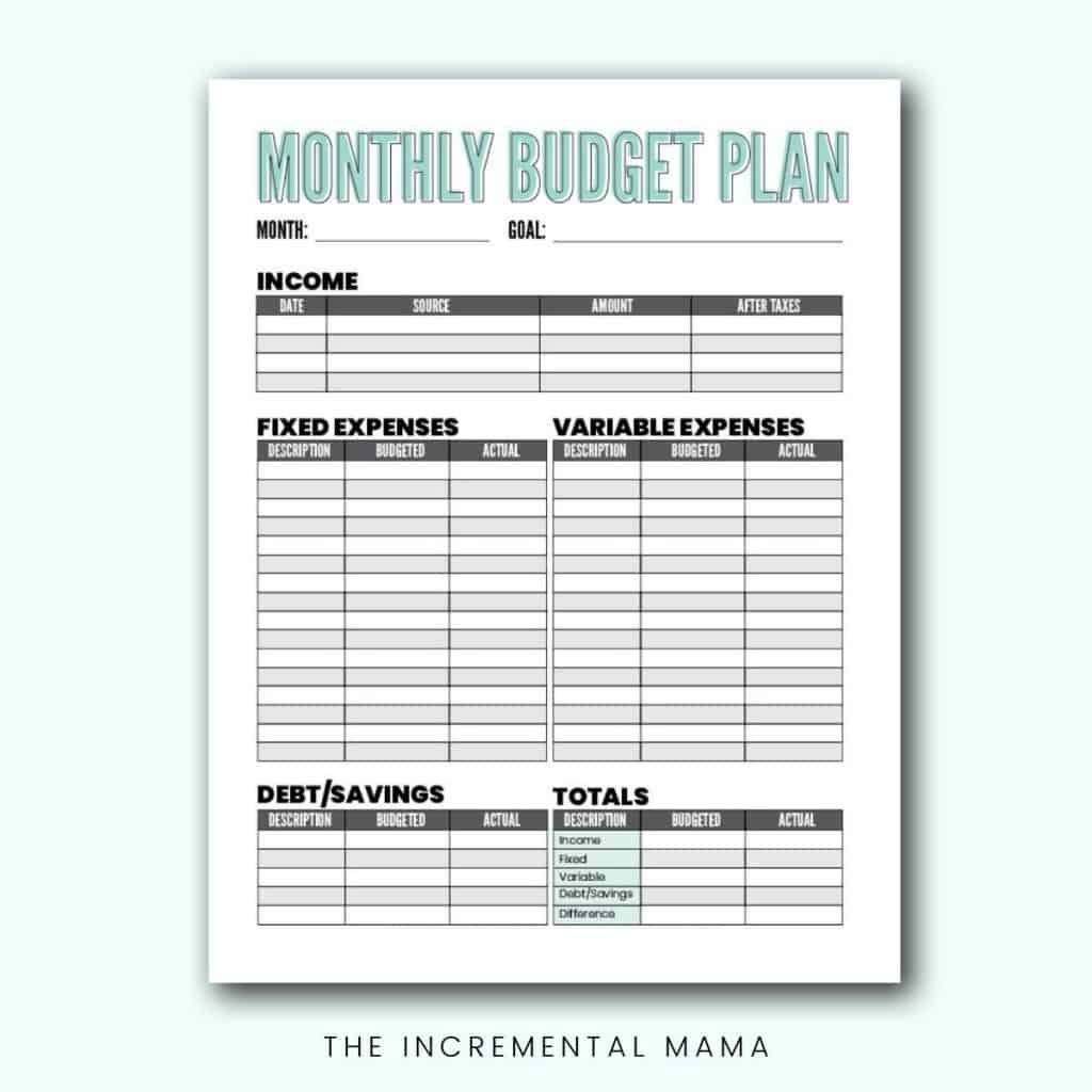 monthly budget template PDF