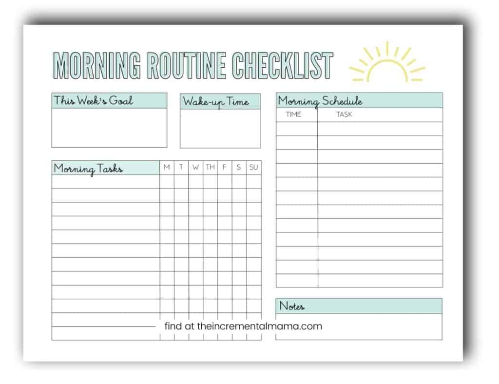 printable morning routine template