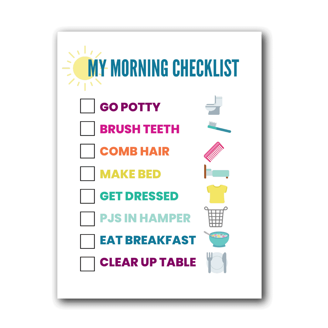 morning routine chart with pictures
