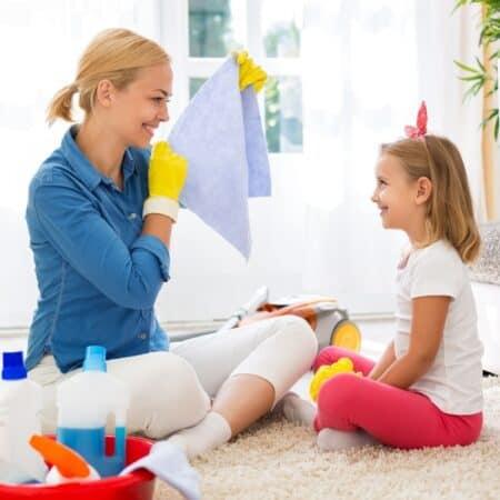 happy girl doing chores
