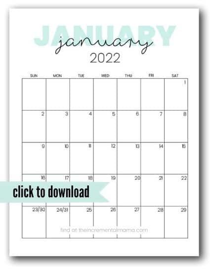 2022 January calendar printable