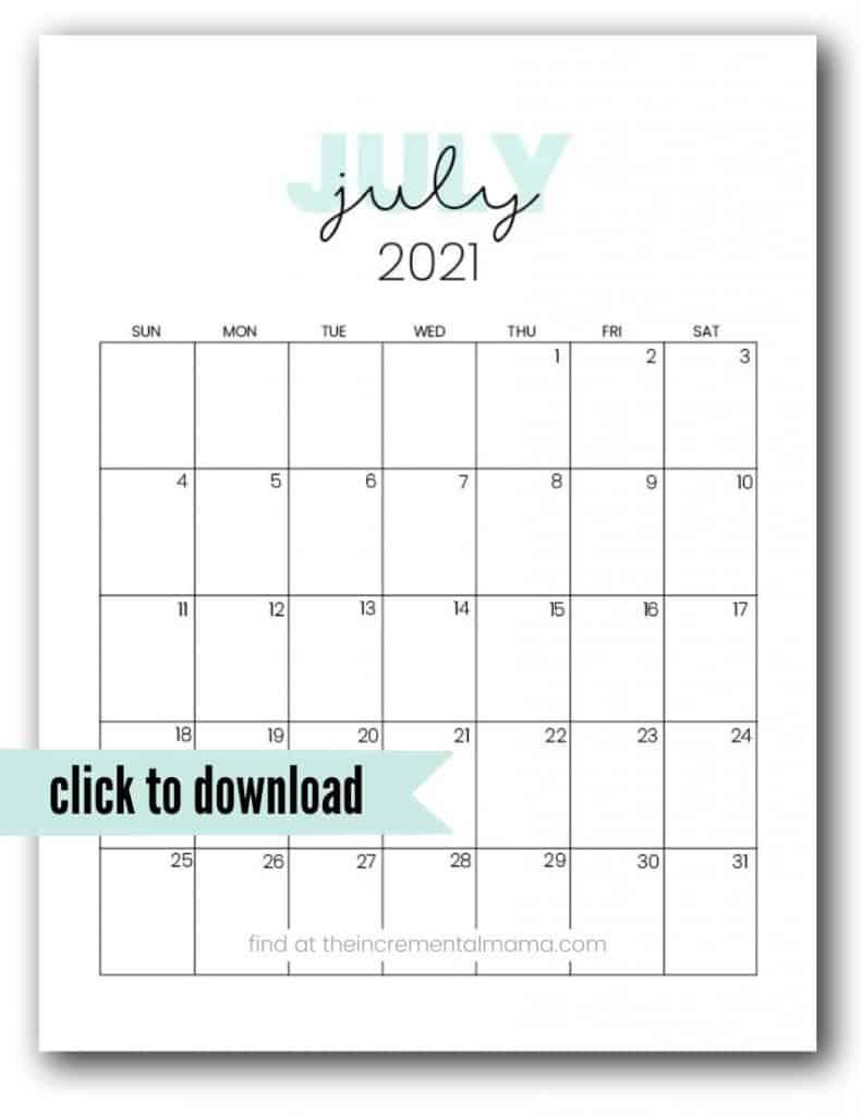 free july 2021 printable calendar