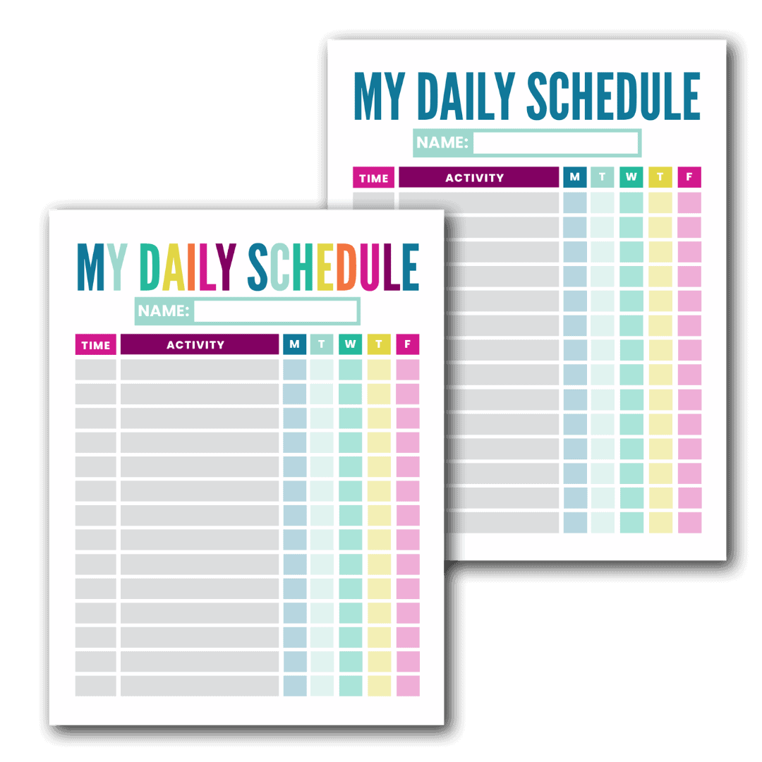 colorful daily schedule template printable for kids