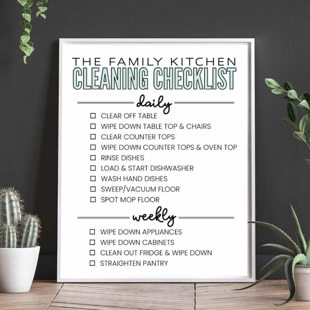 modern kitchen cleaning checklist