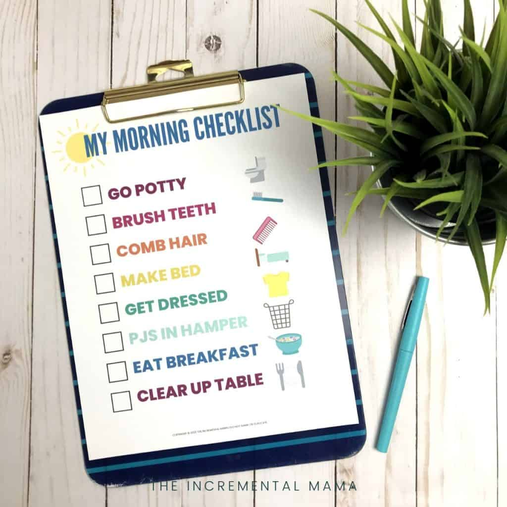 picture morning routine chart for kids