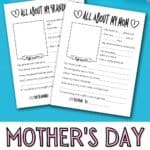 free printable all about mom questionaire