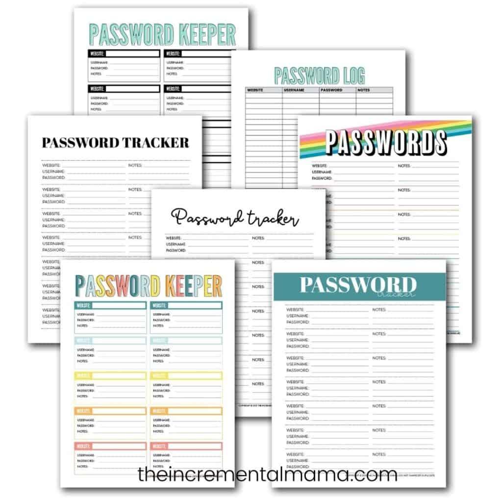7 free printable password log pdf