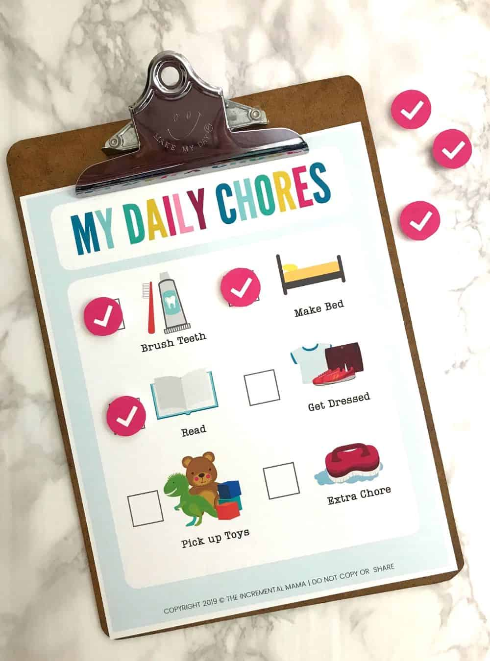 free printable picture chore chart
