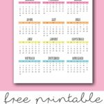 colorful one page 2021 calendar