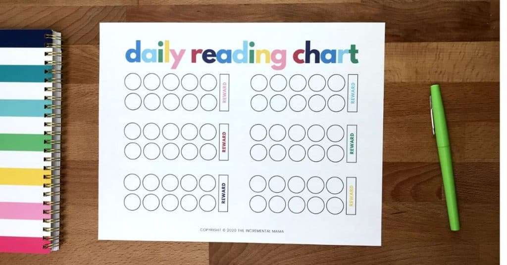 Reading Reward Chart For Kids The Incremental Mama