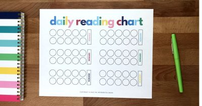 free printable reading reward chart for kids