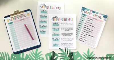 daily summer schedule printables