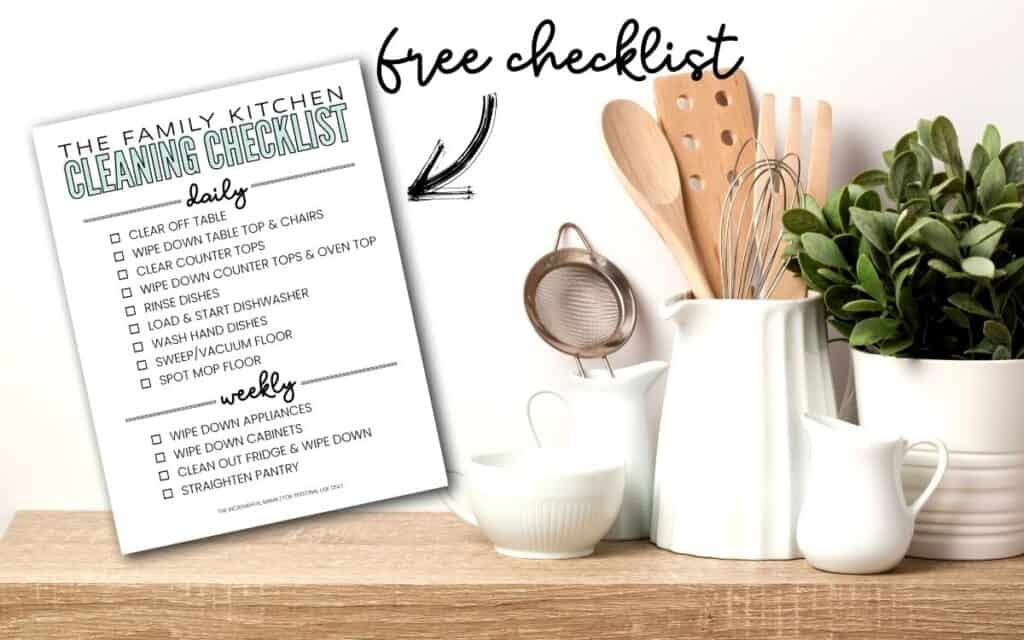 free printable daily kitchen cleaning checklist