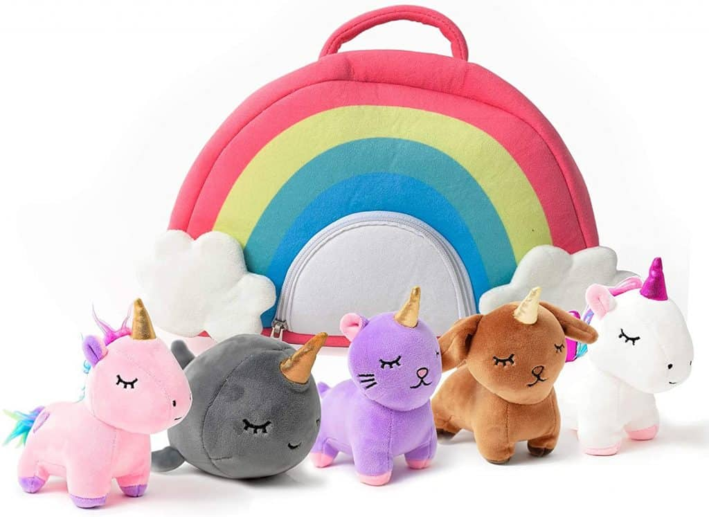 unicorn stuffed animals in rainbow case